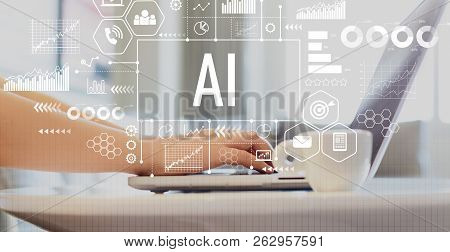 Ai With Woman Using A Laptop On A Coffee Table