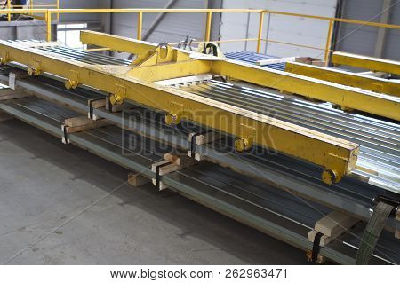 Galvanized profiled steel sheets in packs in stock poster