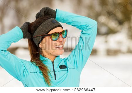 Girl Wearing Sportswear. Winter Sports, Outdoor Fitness, Fashion, Workout, Health Concept.