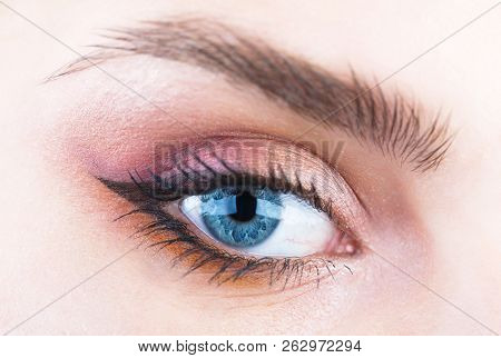 Closeup Eyebrow And Blue Eye. Woman With Soft Smooth Healthy Skin And Glamorous Professional Facial