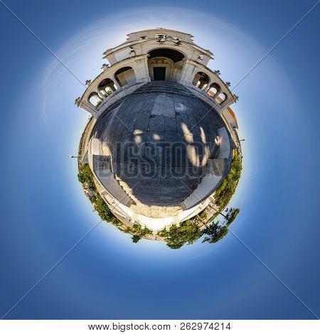 Tiny Planet View Of Nossa Senhora Da Encarnação Church In Leiria, Portugal