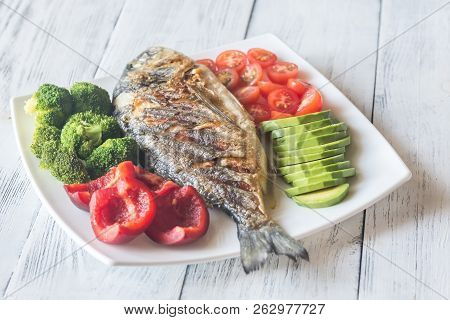 Grilled Sea Bream Fish With Vegetables