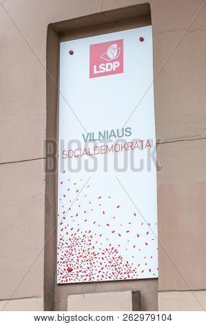 Vilnius, Lithuania - September 28, 2018: Social Democratic Party Of Lithuania (lithuanian: Lietuvos