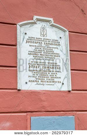 Vilnius, Lithuania - September 28, 2018: Memorial Plaque For Polish Pressman, Publisher, Typographer