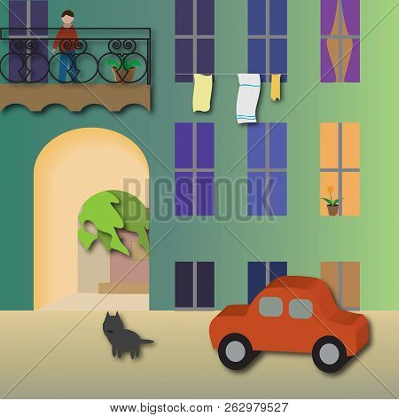 City Courtyard, Cozy Courtyard   Vector Illustration It Is Maybe Used For Any Professional Project