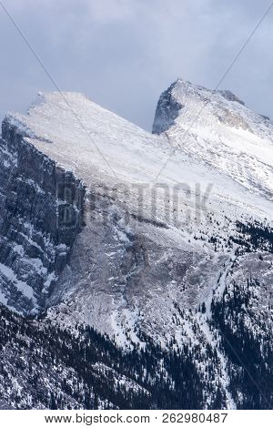 Close Up View Of Mount Rundle In Banff National Park In The Canadian Rockies - Winter
