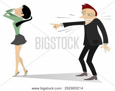 Laughing Man And Crying Woman Illustration. The Man Laughs And Points A Finger To Crying Woman Who C