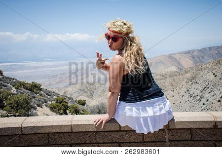 A female with curly hair admires the beautiful view of the Coachella Valley below, from Keys View viewpoint, in Joshua Tree National Park, located in Southern California poster