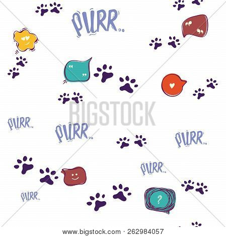 Doodle cat paw seamless background. Purr. Abstract cat paw vector seamless pattern for card, invitation, poster, banner, placard, diary, album, sketch book cover etc. Domestic animal. poster