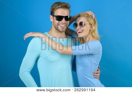 Emotional Connection. Couple Of Man And Woman Wear Fashion Glasses. Fashion Models In Trendy Sun Gla