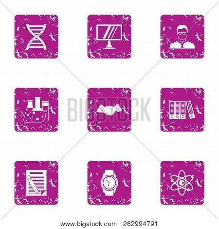 Progressive Science Icons Set. Grunge Set Of 9 Progressive Science Icons For Web Isolated On White B
