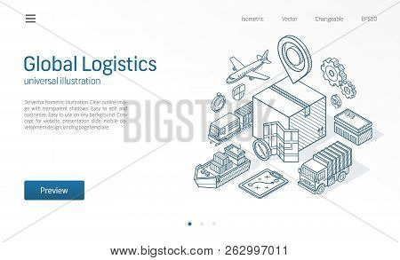 Global Logistic Service Modern Isometric Line Illustration. Export, Import, Warehouse Business, Tran