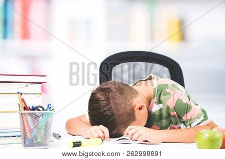 Back To School. Tired Boy Sleeps Over School Homework. Sleeping Boy On The Books At The Desk While S