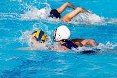 Water polo action and equipment in a swimming pool poster
