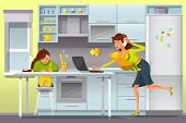 Working Mother Concept. Busy Mom with Children. Mother Working at Home. Super Mom Multitasking Woman. Mommy Businesswoman with Infant in Kitchen. Vector Flat Cartoon Illustration. poster
