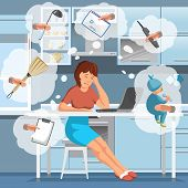 Working Mother Concept. Busy Mom in Kitchen. Mother Working at Home. Super Mom Multitask Woman. Mommy Businesswoman. Multitasking and Housework. Vector Flat Cartoon Illustration. poster