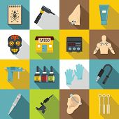 Tattoo parlor icons set. Flat illustration of 16 tattoo parlor icons for web poster