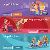 Help to homeless people illustration for social charity project web banners. Flat design of poverty charity organization for help to beggars or homeless bum and children begging alms in poverty poster