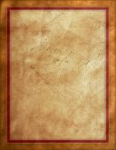 Rough textured brown suede background with red border poster