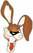 Illustrated brown smiling comic easter bunny head poster
