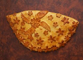 Fresh Baked Traditional  Pie Wihcabbage And Eggs On A Wood Table