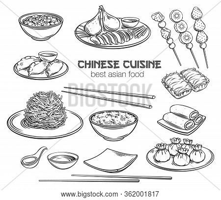 Chinese Cuisine Outline Icon Set. Asian Food Engraved Vector Illustration. Peking Duck, Dumplings, W