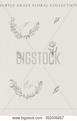 Collection Of Delicate Line Drawing Vector Floral Wreaths Frames. Hand Drawn Delicate Flowers, Branc