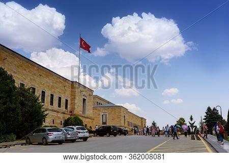 Ankara, Turkey - June 24, 2018:tourists Visiting Ataturk Mausoleum, Anitkabir, Monumental Tomb Of Mu