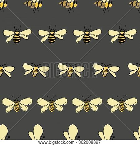 Bees Line Up On Gray Background Seamless Vector Pattern Surface Design Honeybees