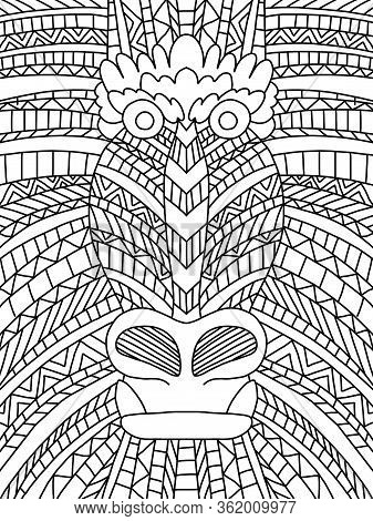 Wildlife Monkey Head Coloring Page. Stylization Of Exotic Animal Coloring Book For Kids And Adults.