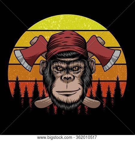 Monkey Lumberjack Retro Vector Illustration For Your Company Or Brand