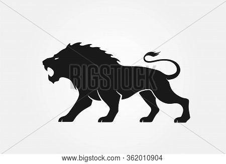 Lion Logo. Courage, Valor And Strength Symbol. Isolated Vector Image Of Wild Aggressive Animal