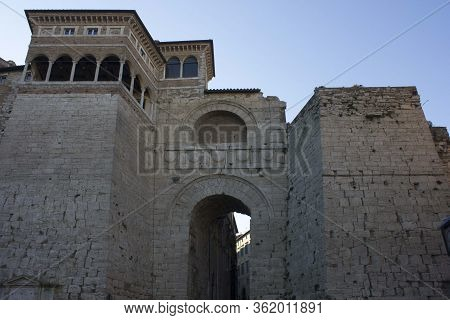 Perugia, Italy - December 10 2016: The Historical Building Called Etruscan Arch In Perugia, Italy