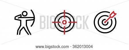 Set Of Shooter, Aim And Goal Personal Targeting Icons. Editable Line Vector.