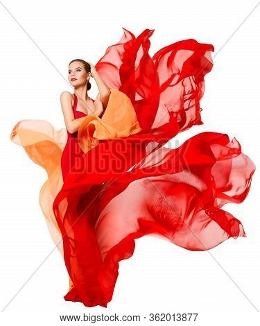 Woman Waving Red Dress Fluttering As Flame, Flowing Silk Cloth, Beautiful Fashion Model In Artistic