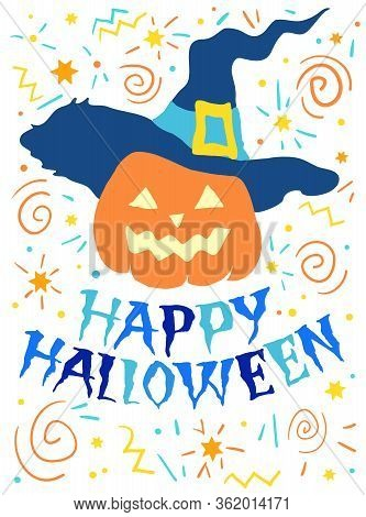 Halloween Pumpkin In Hat, Vector Illustration For Design: Greeting Card, Poser,invitation