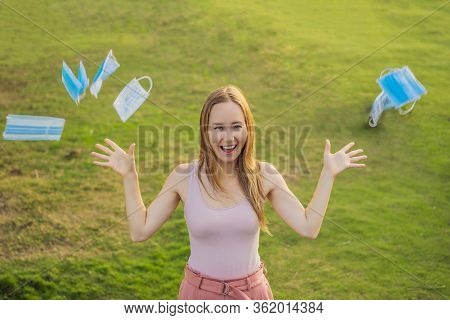 Coronavirus Is Over We Won Concept. Woman With Protection Mask Outdoor In The Sunshine Freedom. We A