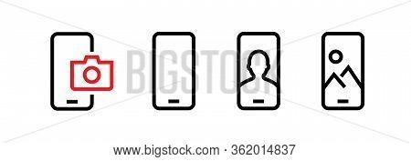 Set Of Front, Blank, Selfie, Vertical Phone Multi-cameras Icons. Editable Line Vector.