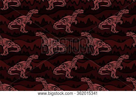 Beautiful Tribal Vector Seamless Pattern With Pink Predatory Dinosaur Silhouettes On The Bloody Brow