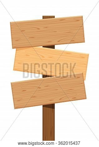 Three Wooden Sign Of Different Directions Isolated On White, Empty Wood Plank Signs For Copy Space,