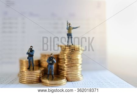 Business, Money And Security Concept. Close Up Of Group Of Soldier Or Police Miniature Figure People