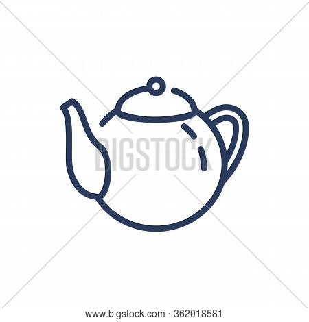 Teapot Thin Line Icon. Tea, Teatime, Menu Isolated Outline Sign. Breakfast Drink Or Cafe Concept. Ve