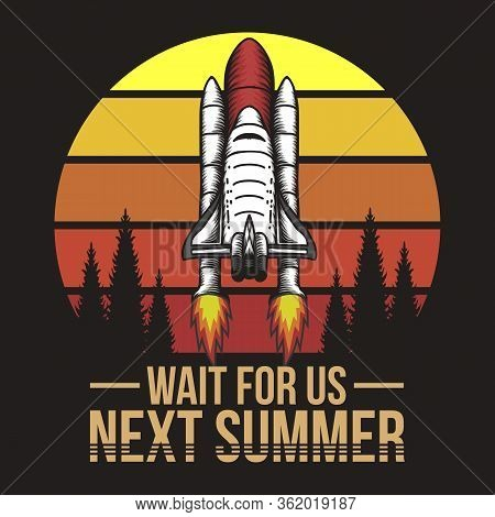 Spacecraft Sunset Retro Illustration For Your Company Or Brand