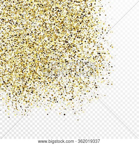 Gold Glitter Confetti Backdrop Isolated On White Transparent Background. Celebratory Texture With Sh