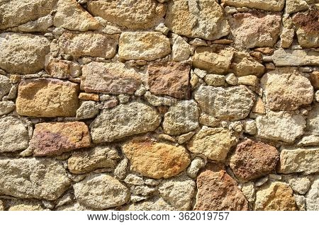 Stonewall In The Medieval Village Of Pals, Located In The Middle Of The Emporda Region Of Girona, Ca
