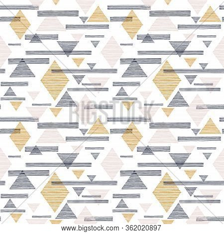 Diamond, Triangle And Line Vector Repeat Pattern. Navajo, Aztec, Ethnic, Hipster Backdrop. Great For