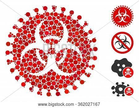 Collage Virus Hazard Icon Constructed From Round Items In Different Sizes, Positions And Proportions