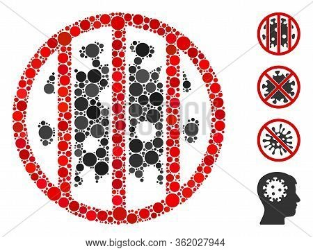 Collage Coronavirus Jail Icon Organized From Round Items In Random Sizes, Positions And Proportions.