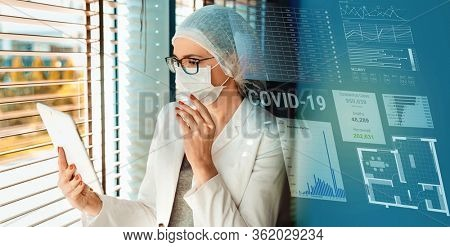 Young medical woman wearing hygienic mask