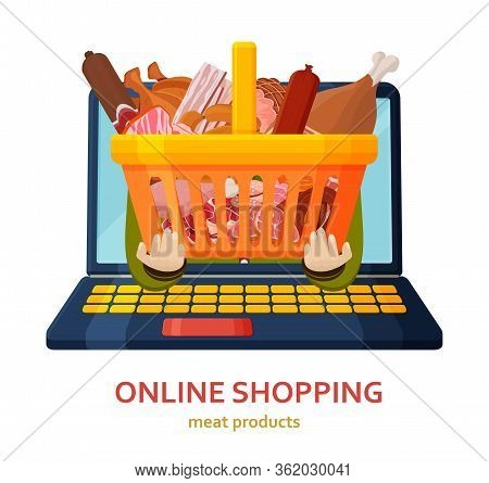 Shopping Online Banner. Meat Products Background. Online Store Concept. Shopping Basket In Human Han